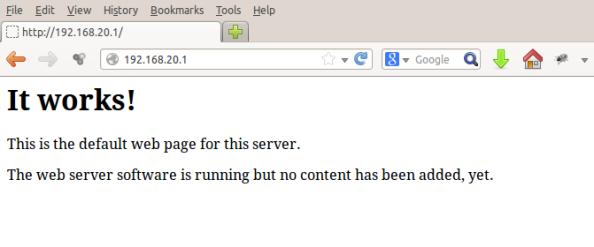 Note que o endereço do servidor é o 192.168.20.1