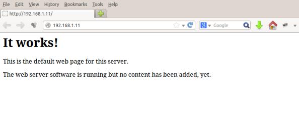 Se tudo correu bem, teremos o servidor web respondendo bem