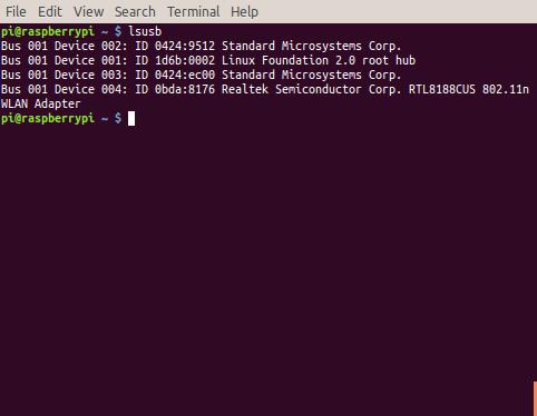 raspberry-terminal-lsusb