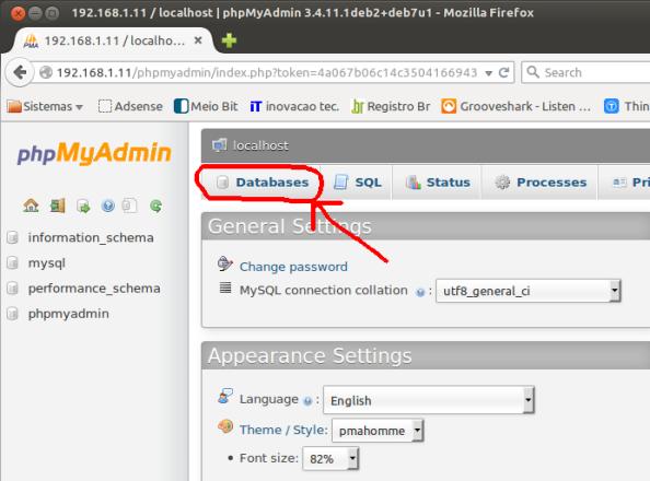 Tela para criar banco de dados no phpMyAdmin